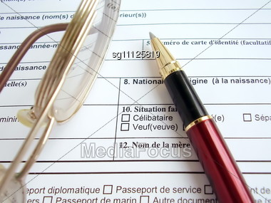 Tool In To Fill A Visa To France Stock Photo