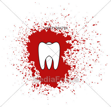 Tooth Icon Isolated On Red Splatter Background Stock Photo