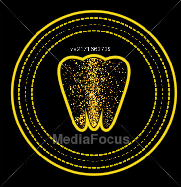 Tooth Logo On Yellow Circle Frame. Tooth Emblem. Tooth Icon On Black Background Stock Photo