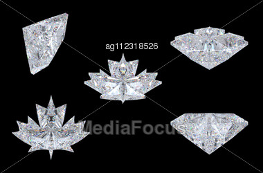 Top, Bottom And Side Views Of Maple Leaf Diamond. Over Black, Extralarge Resolution. Other Gems Are In My Portfolio. Stock Photo