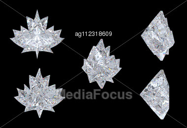 Top, Bottom And Side Views Of Maple Leaf Diamond. Over Black, Extralarge Resolution. Other Gems Are In My Portfolio Stock Photo