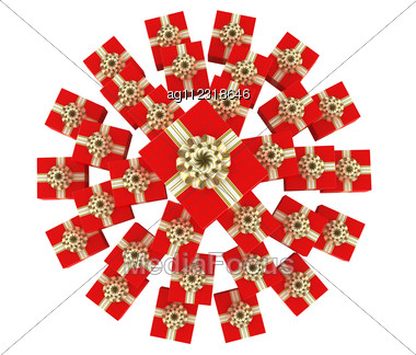Top View Of Round Heap Of Gift Boxes With Presents Stock Photo
