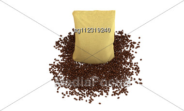 Top View Of Sacking Pack On Coffee Beans Isolated Over White Stock Photo