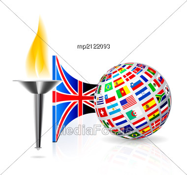Torch With Flame With England Flag And Globe From Flags Other Countries. Stock Photo