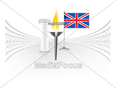 Torch With Flame With England Flag. Stock Photo
