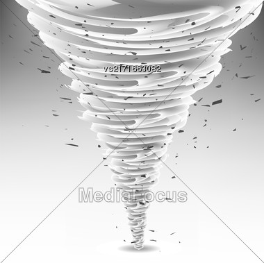Tornado Swirl With Debris Particles. Wheather Disaster. Hurrigane Or Cyclon Vortex Stock Photo