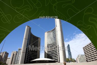 Toronto Downtown Urban City Blue Sky Modern Stock Photo