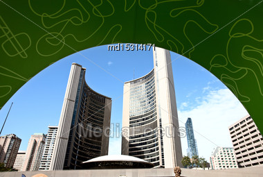 Toronto Downtown Urban City Blue Sky Modern Stock Photo