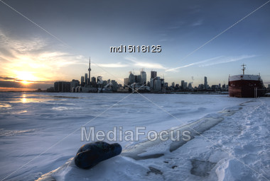 Toronto Ontario From Polson Pier In Winter At Sunset Stock Photo