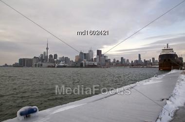 Toronto Polson Pier Winter Ice Storm Skyline City Stock Photo