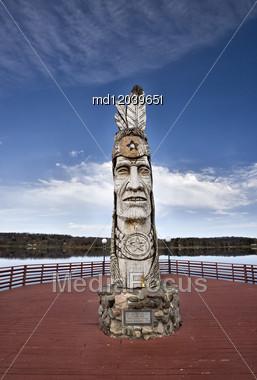 Totem Pole Near Ashland Wisconsin Northern Near Lake Superior Stock Photo