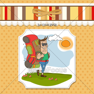 Tourist Man Traveling With Backpack Stock Photo