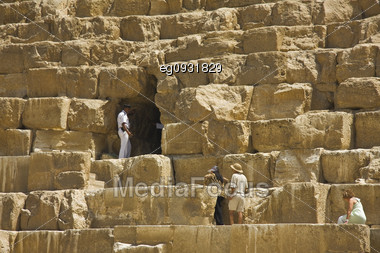 A Tourist Police Guarding The Entrance Of Tourists In The Pyramid Of Cheops Stock Photo