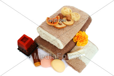 Towels And Spa Set Isolated On White Background. Stock Photo