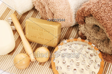Towels And Spa Set On Mat Background. Stock Photo