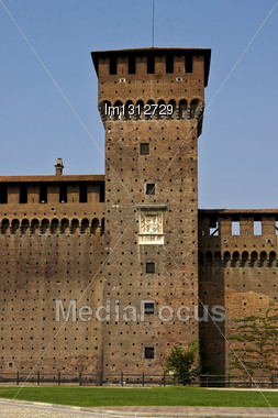 Tower Castle Brick Old Brown And Window In The Grass Of Castle Sforzesco Milan Stock Photo