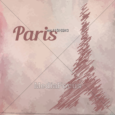 Tower Eiffel Sketch On Watercolor Background. Vector Illustration Stock Photo