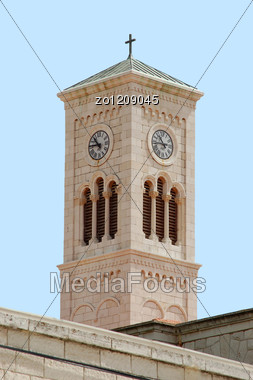Tower In The Church Of Joseph`s Carpenty In Nazareth Stock Photo