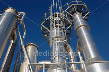 Towers At An Oil Refinery Stock Photo