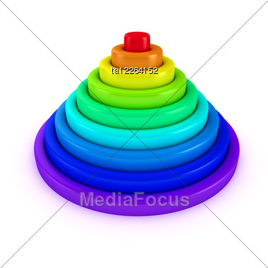 Toy Pyramid With Rings Of Rainbow Colors Stock Photo