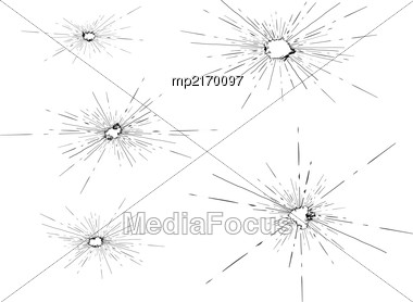 Traces Of Bullets Shattered The Glass. Vector Illustration On White Background Stock Photo
