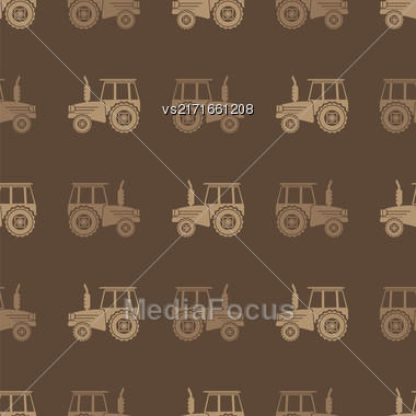 Tractor Icon Seamless Pattern On Brown Background. Agricultural Transport For Farm Stock Photo