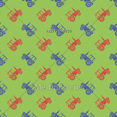 Tractor Icon Seamless Pattern On Green Background. Agricultural Transport For Farm Stock Photo
