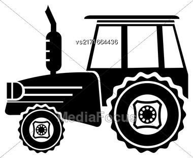 Tractor Icon Isolated On White Background. Silhouette Of Tractor Stock Photo