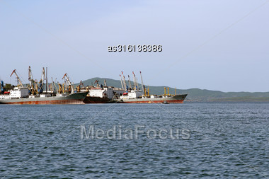Trade Sea Port Vladivostok, Russia, Pacific Ocean Stock Photo