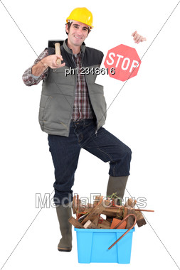Tradesman Against Needless Waste Stock Photo