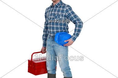 Tradesman Arriving At Work Stock Photo