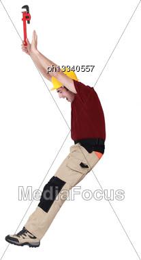 Tradesman In A Photo Studio Stock Photo