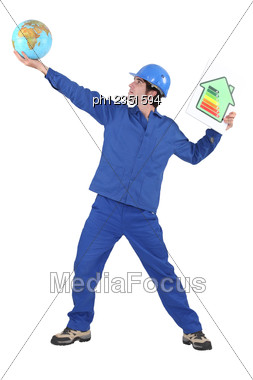 Tradesman Reaching For The Stars Stock Photo