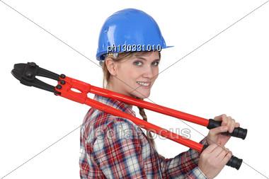 Tradeswoman Holding Boltcutters Stock Photo