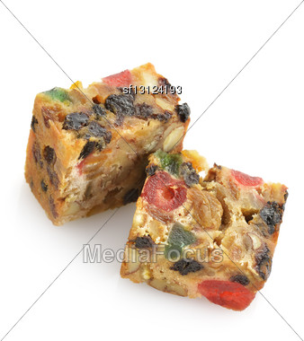 Traditional Christmas Fruit Cake Stock Photo