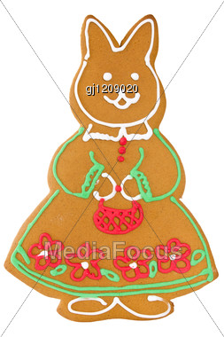 Traditional Handmade Baked Easter Or Christmas Rabbit Stock Photo