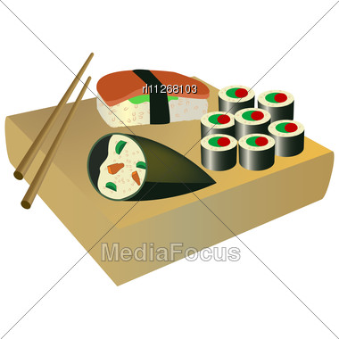 Japanese traditional red pattern set royalty free stock photography - Stock Photo Traditional Japanese Food Wood And Chopsticks