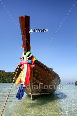 Traditional long-tail boat in Thailand Stock Photo