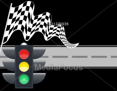 Traffic Light With Checkered Flag And Road Stock Photo