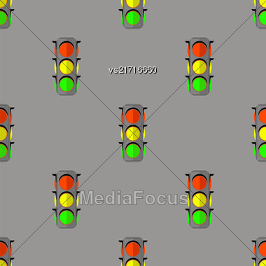Traffic Light Seamless Pattern. Road Street Background Stock Photo
