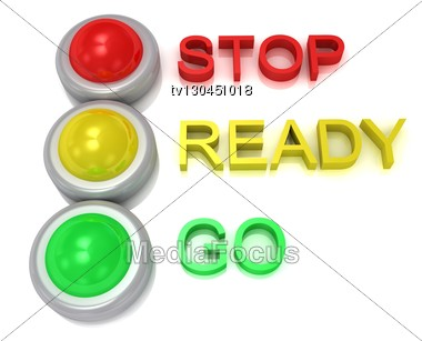 Royalty Free Stock Photo: Traffic Lights With Red, Yellow And Green Lights  Traffic With Inscriptions Stop, Ready, Go Ideas