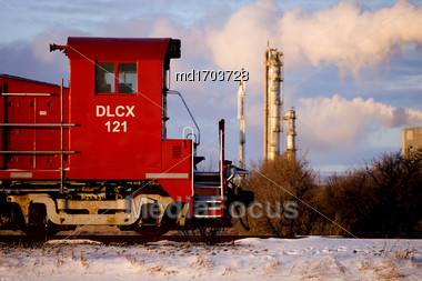 Train Engine Canada Transport Potash Saskatchewan Rail Stock Photo