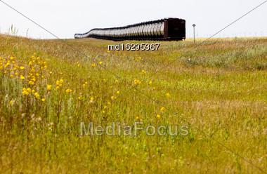 Train In The Prairies Tanker Cars Oil Crude Stock Photo