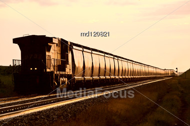 Train At Sunset Late Day Saskatchewan Canada Stock Photo