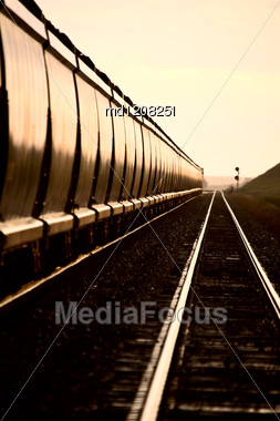 Train At Sunset Late Day Saskatchewan Canada Stock Photo