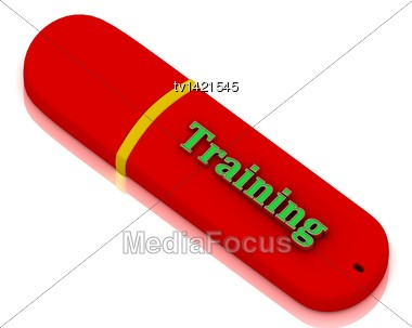 Training - Inscription Bright Volume Letter On Red USB Flash Drive On White Background Stock Photo