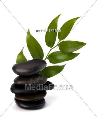 Tranquil Scene. Green Leaf And Stones Isolated On White Background Stock Photo