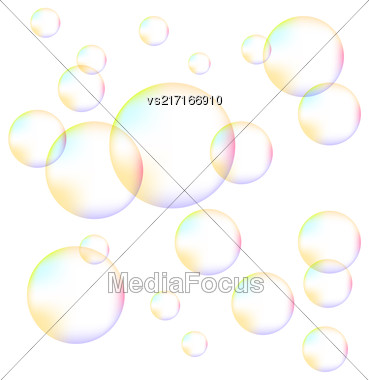 Transparent Colorful Foam Bubbles Isolated On White Background Stock Photo