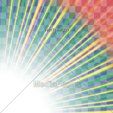 Transparent Colorful Rays. Colored Rays Pattern. Burst Of Star Stock Photo