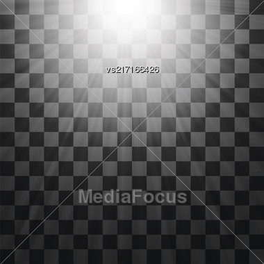 Transparent Light On Gray Checkered Background. Blurred Sun Rays Stock Photo